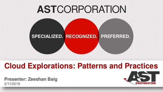 ASTCORPORATION RECOGNIZED.SPECIALIZED. PREFERRED. Cloud Explorations: Patterns and Practices Presenter: Zeeshan Baig 2/11/...
