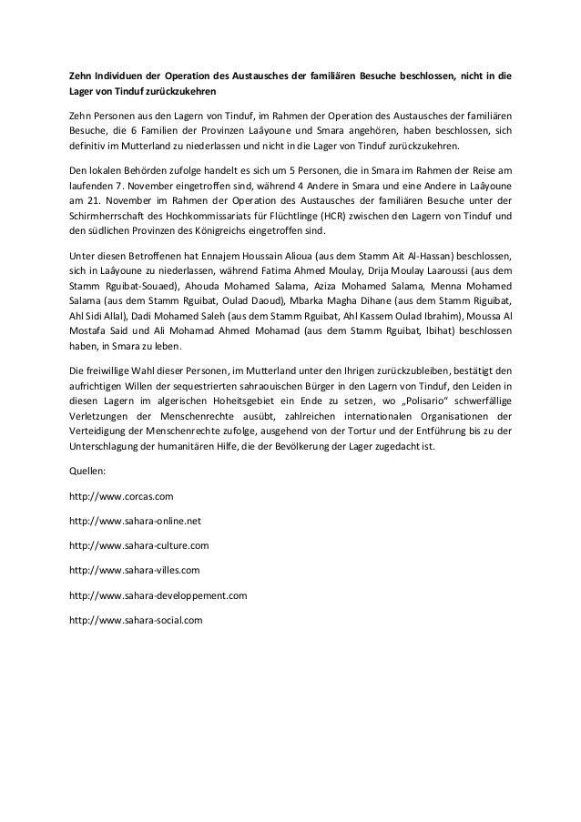 Zehn Individuen der Operation des Austausches der familiären Besuche beschlossen, nicht in dieLager von Tinduf zurückzukeh...