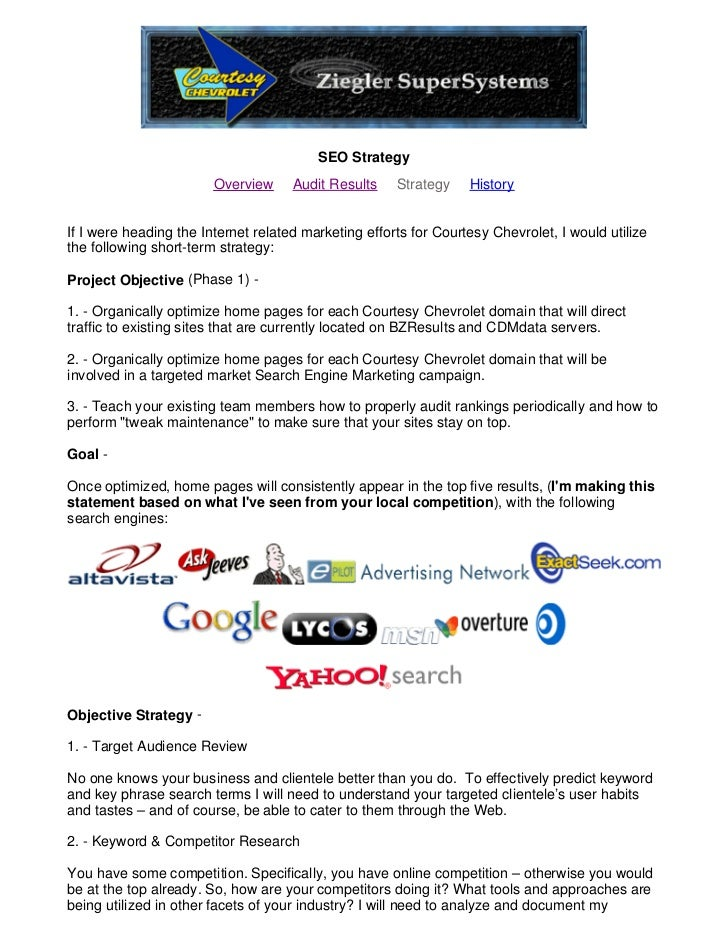 SEO Strategy                         Overview     Audit Results    Strategy    History   If I were heading the Internet re...