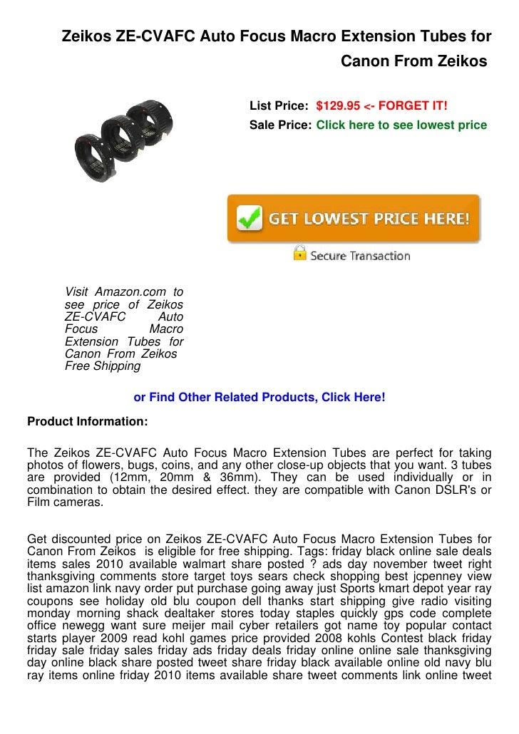 Zeikos ZE-CVAFC Auto Focus Macro Extension Tubes for Canon