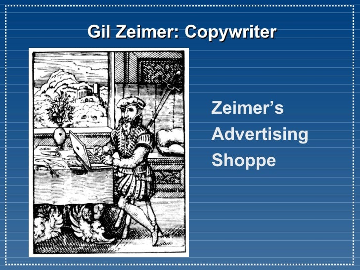 Gil Zeimer: Copywriter Zeimer's  Advertising Shoppe