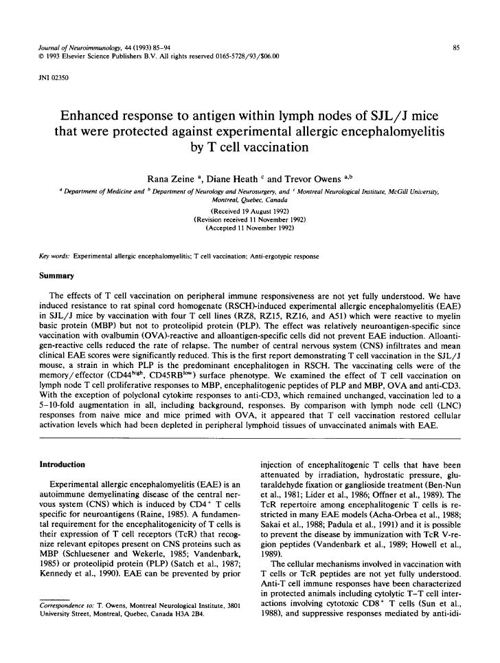 Journal of Neuroimmunology, 44 (1993) 85-94                                                                               ...