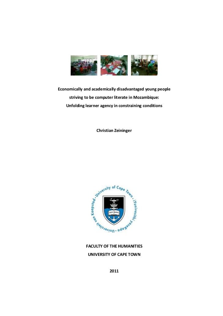 Economically and academically disadvantaged young people     striving to be computer literate in Mozambique:    Unfolding ...