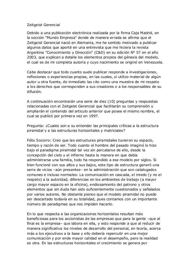 """Zeitgeist GerencialDebido a una publicación electrónica realizada por la firma Caja Madrid, enla sección """"Mundo Empresa"""" d..."""