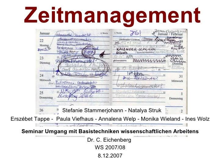 Zeitmanagement Stefanie Stammerjohann - Natalya Struk Erszébet Tappe -  Paula Viefhaus - Annalena Welp - Monika Wieland - ...