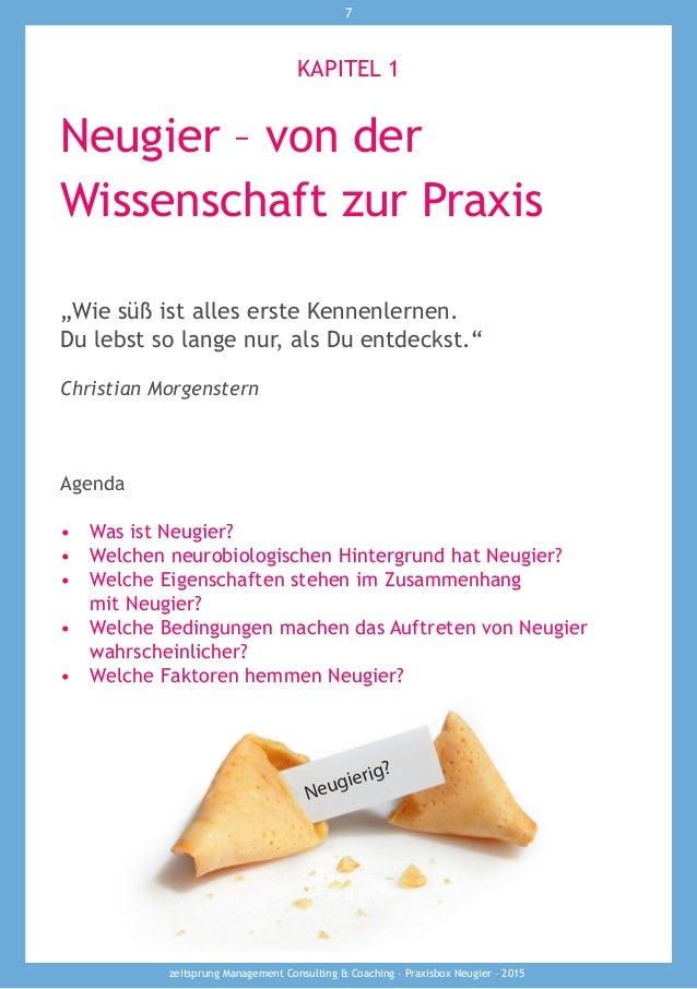 """zeitsprung Management Consulting & Coaching – Praxisbox Neugier – 2015 7 Neugier – von der Wissenschaft zur Praxis """"Wie sü..."""