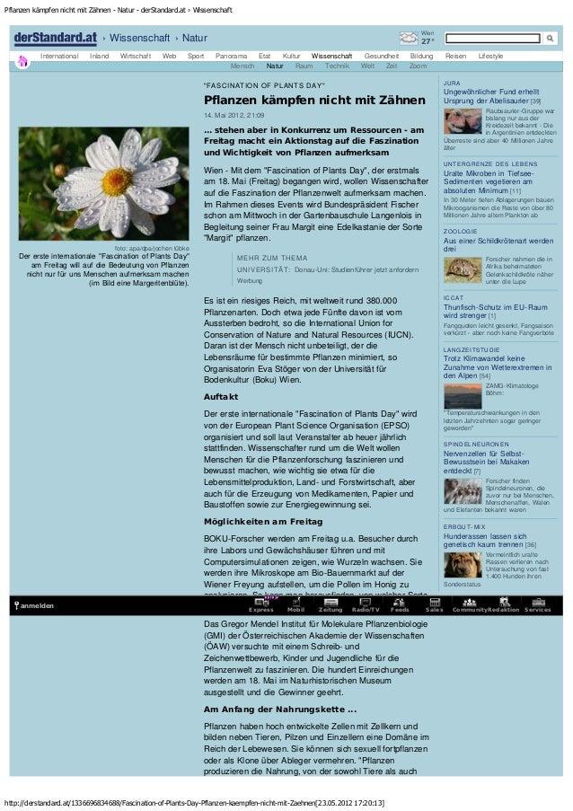 Pflanzen kämpfen nicht mit Zähnen - Natur - derStandard.at › Wissenschaft http://derstandard.at/1336696834688/Fascination-...