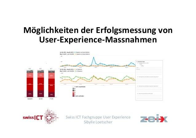 Möglichkeiten der Erfolgsmessung von  User‐Experience‐Massnahmen  Swiss ICT Fachgruppe User Experience  Sibylle Loetscher