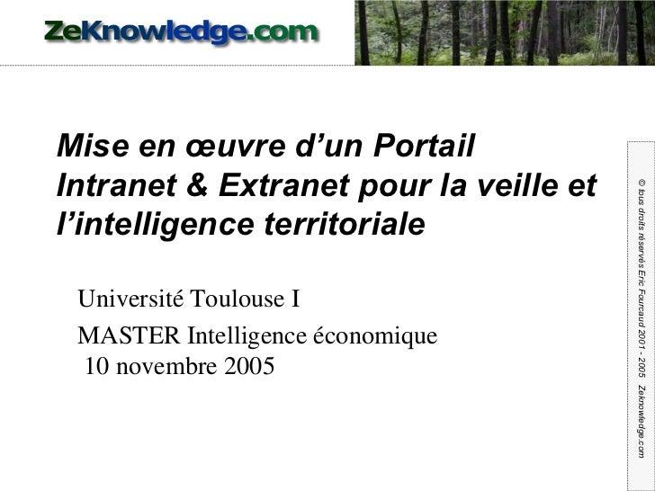 Mise en œuvre d'un Portail Intranet & Extranet pour la veille et l'intelligence territoriale Université Toulouse I MASTER ...