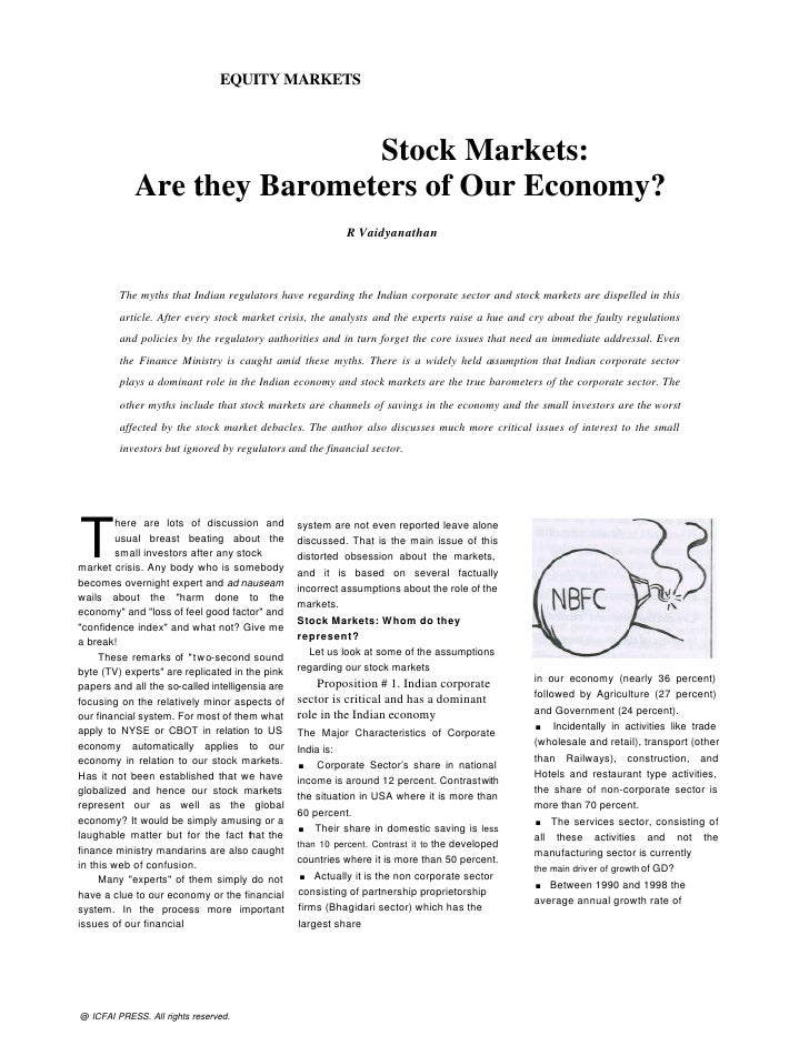 EQUITY MARKETS                            Stock Markets:            Are they Barometers of Our Economy?                   ...