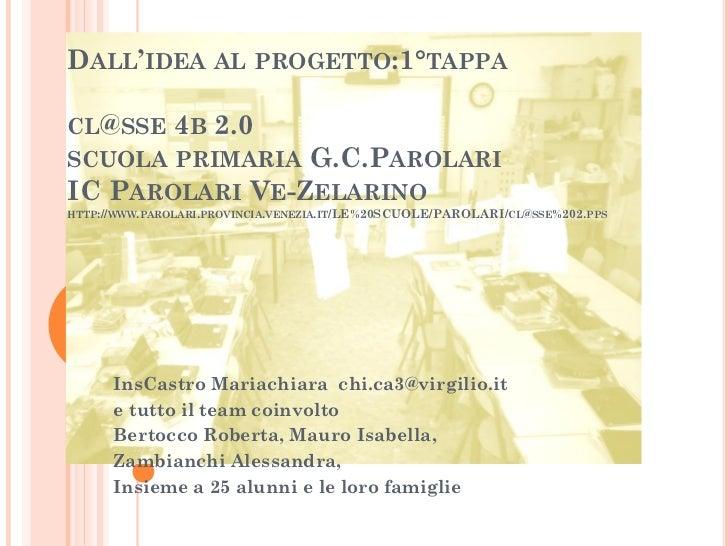 DALL'IDEA AL PROGETTO:1°TAPPACL@SSE 4B 2.0SCUOLA PRIMARIA G.C.PAROLARIIC PAROLARI VE-ZELARINOHTTP://WWW.PAROLARI.PROVINCIA...