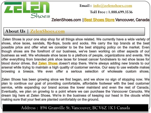 Email : info@zelenshoes.com                                                          Toll Free : 1.888.699.3536           ...