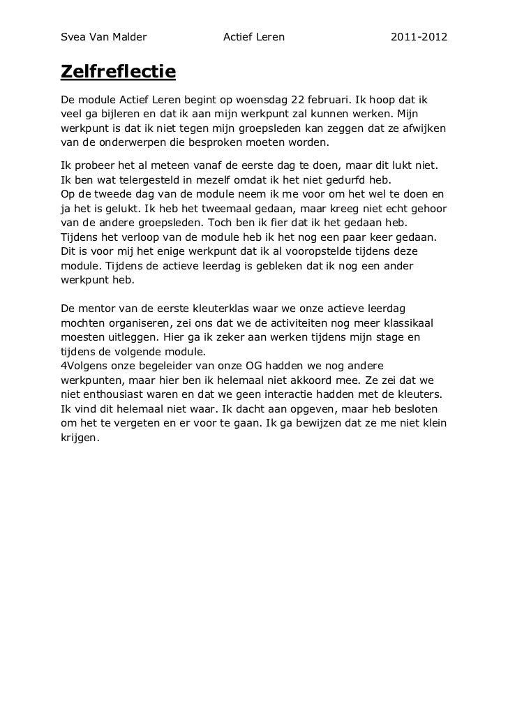 Svea Van Malder                Actief Leren                    2011-2012ZelfreflectieDe module Actief Leren begint op woen...