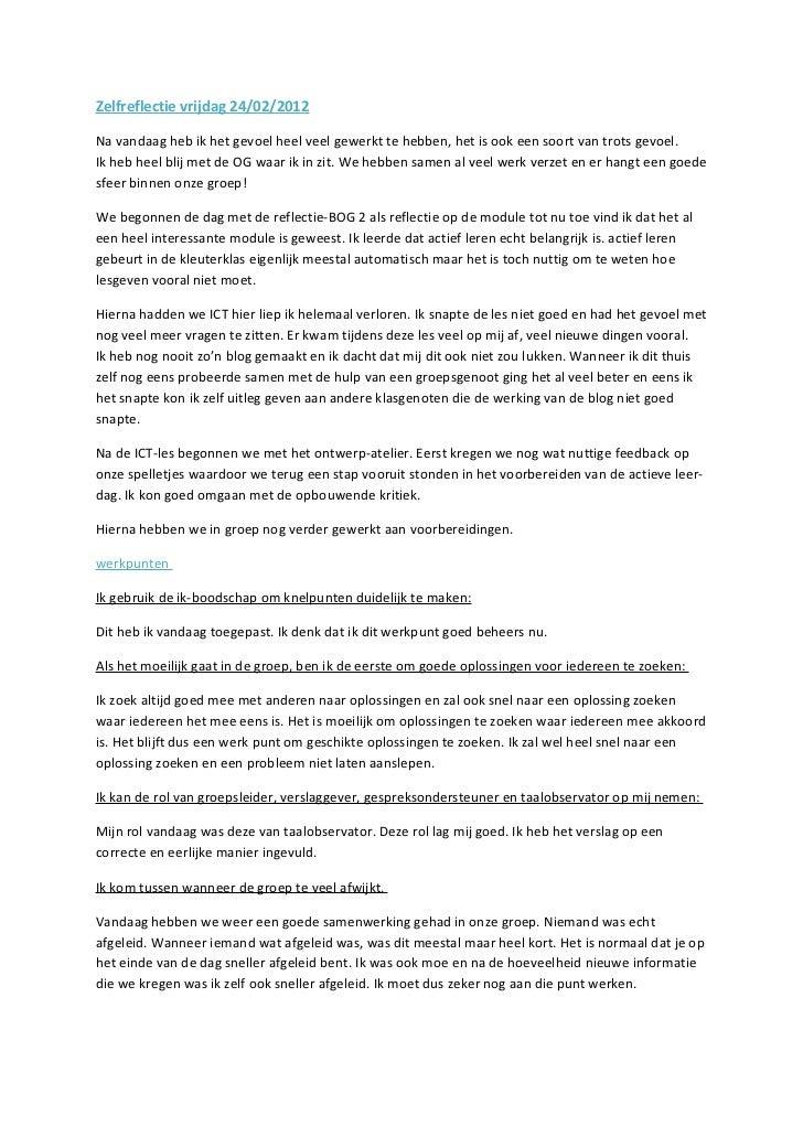 Zelfreflectie vrijdag 24/02/2012