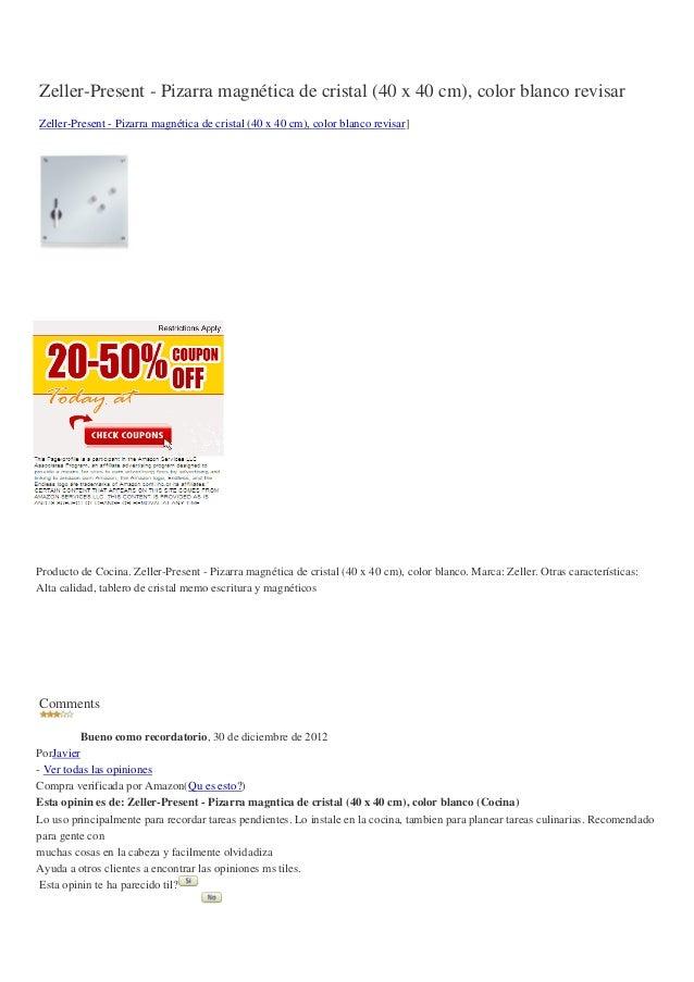 Zeller-Present - Pizarra magnética de cristal (40 x 40 cm), color blanco revisarZeller-Present - Pizarra magnética de cris...