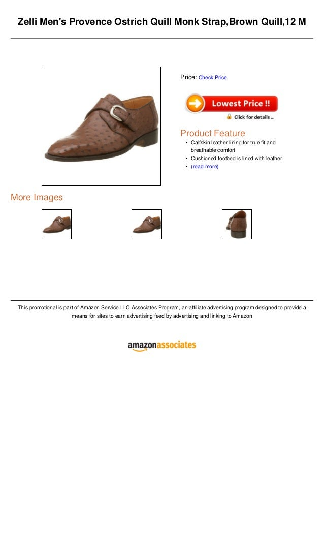 Zelli Mens Provence Ostrich Quill Monk Strap,Brown Quill,12 MMore ImagesThis promotional is part of Amazon Service LLC Ass...