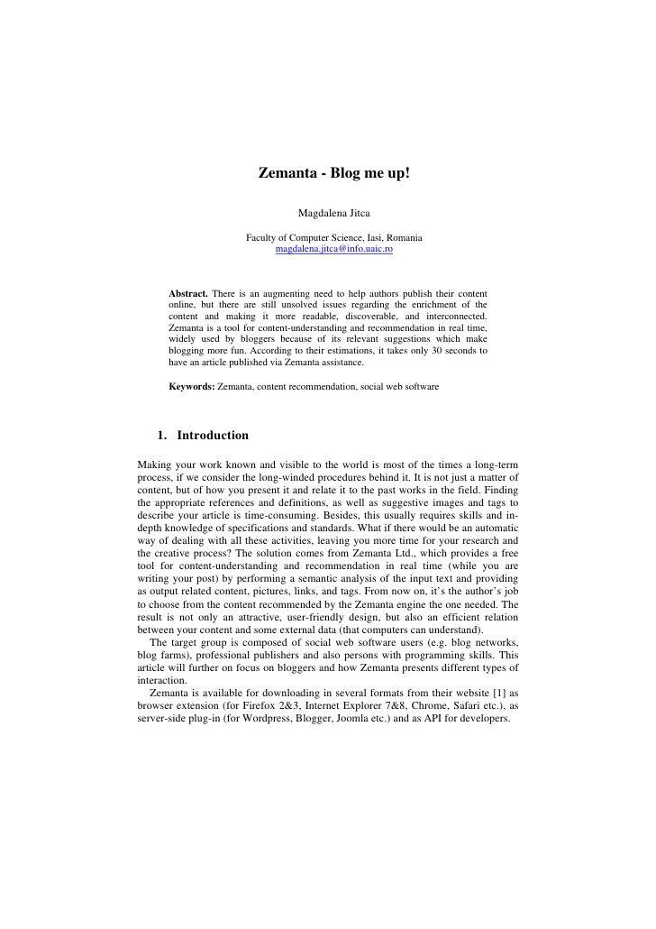 Zemanta - Blog me up!                                        Magdalena Jitca                           Faculty of Computer...