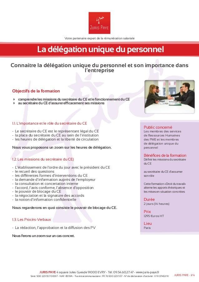 Formation La Delegation Unique Du Personnel Juris Paye