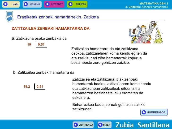 ZATITZAILEA ZENBAKI HAMARTARRA DA a . Zatikizuna osoko zenbakia da 19 0,51 19,2  0,51 Zatitzailea hamartarra da eta zatiki...