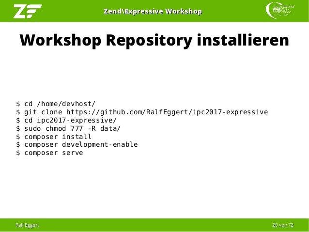 Ralf EggertRalf Eggert 2020 vonvon 7272 ZendExpressive WorkshopZendExpressive Workshop Workshop Repository installieren $ ...