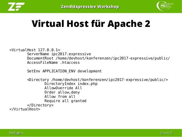 Ralf EggertRalf Eggert 2222 vonvon 7272 ZendExpressive WorkshopZendExpressive Workshop Virtual Host für Apache 2 <VirtualH...