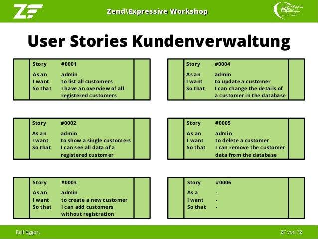 Ralf EggertRalf Eggert 2727 vonvon 7272 ZendExpressive WorkshopZendExpressive Workshop User Stories Kundenverwaltung Story...