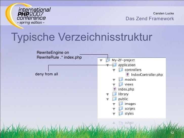 Carsten Lucke                                 Das Zend Framework    Typische Verzeichnisstruktur      RewriteEngine on    ...