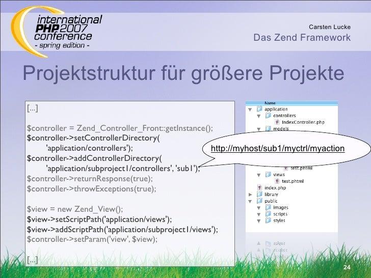 Carsten Lucke                                                               Das Zend Framework   Projektstruktur für größe...