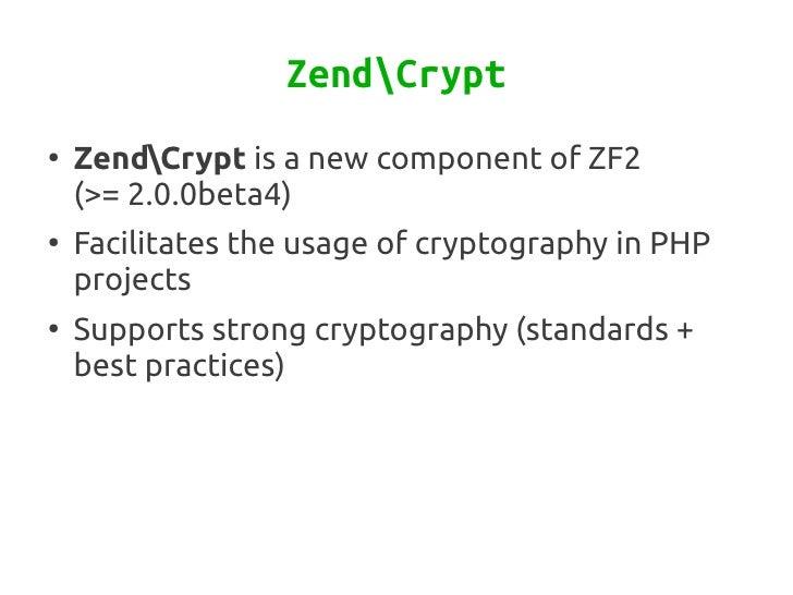 Cryptography with Zend Framework Slide 2