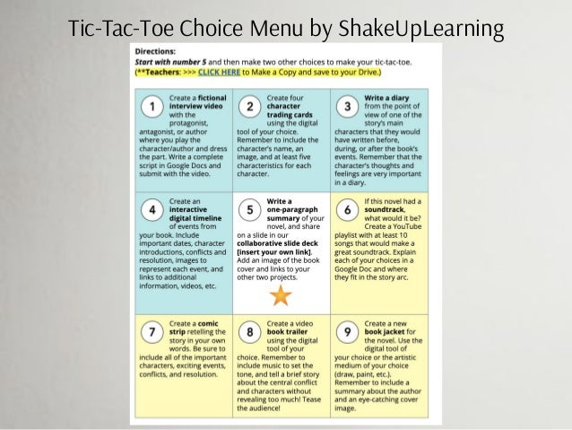 Tic-Tac-Toe Choice Menu by ShakeUpLearning