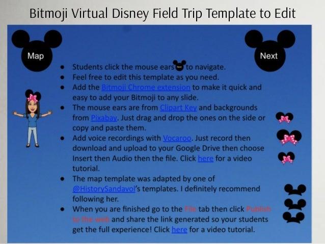 Bitmoji Virtual Disney Field Trip Template to Edit