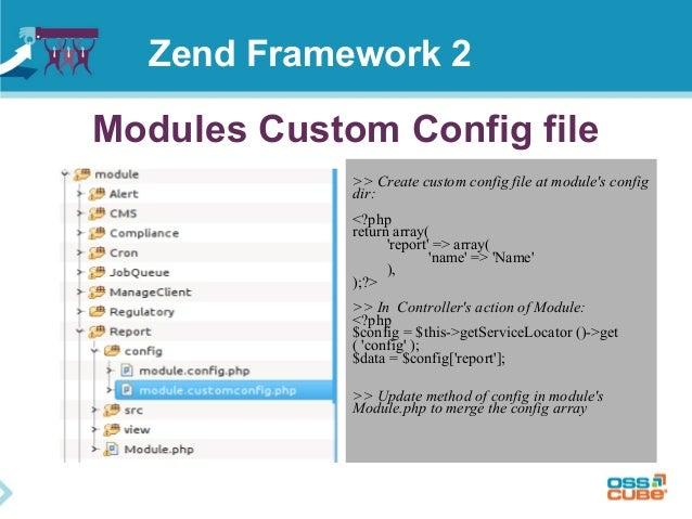 Modules Custom Config file >> Create custom config file at module's config dir: <?php return array( 'report' => array( 'na...