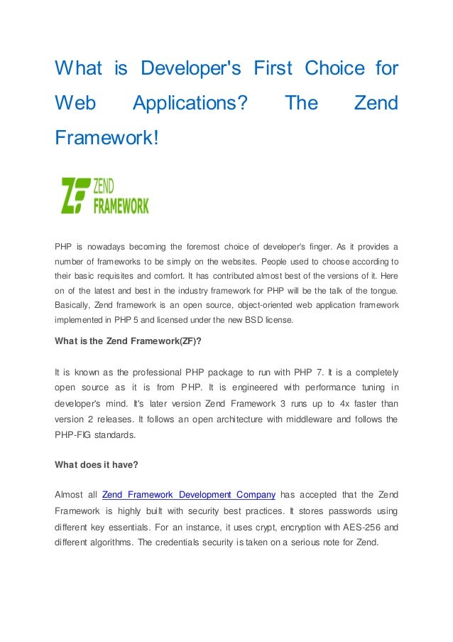 What is Developer's First Choice for Web Applications?The Zend Framew…