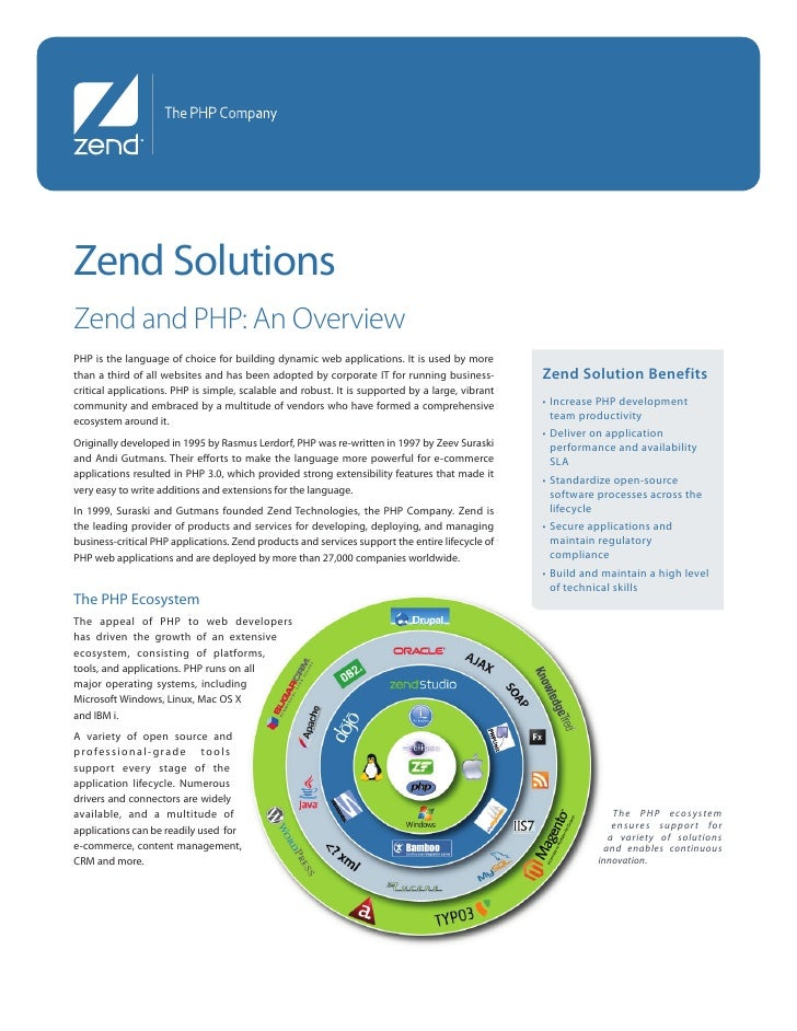 Zend Solutions Zend and PHP: An Overview PHP is the language of choice for building dynamic web applications. It is used b...