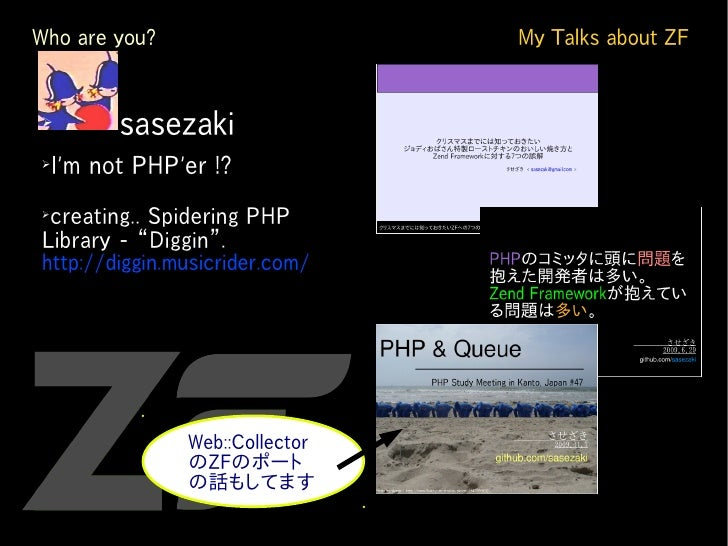 Who are you?                     My Talks about ZF   ➢          sasezaki ➢     I'm not PHP'er !? ➢  creating.. Spidering P...