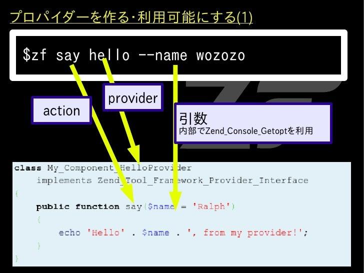 プロパイダーを作る・利用可能にする(1)   $zf say hello --name wozozo              provider    action                        引数              ...