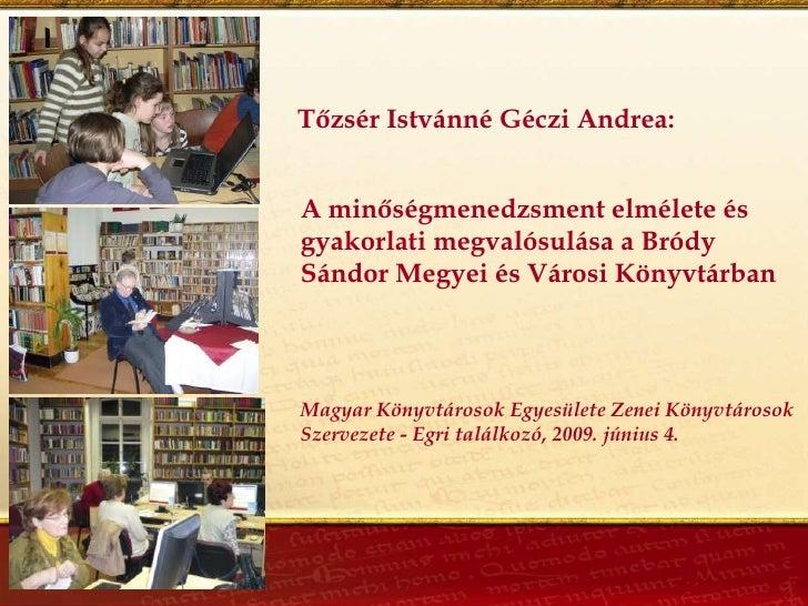 Tőzsér Istvánné Géczi Andrea:   A minőségmenedzsment elmélete és gyakorlati megvalósulása a Bródy Sándor Megyei és Városi ...