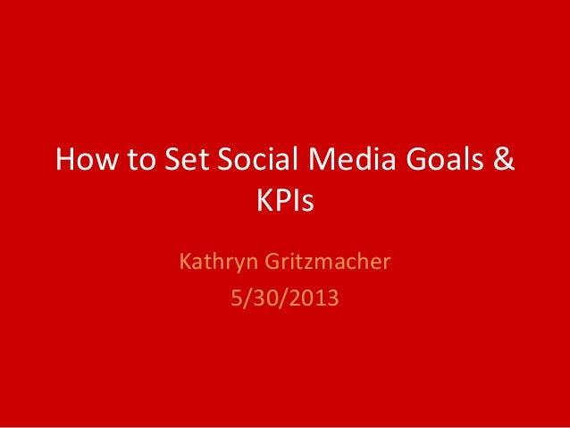 How to Set Social Media Goals &KPIsKathryn Gritzmacher5/30/2013
