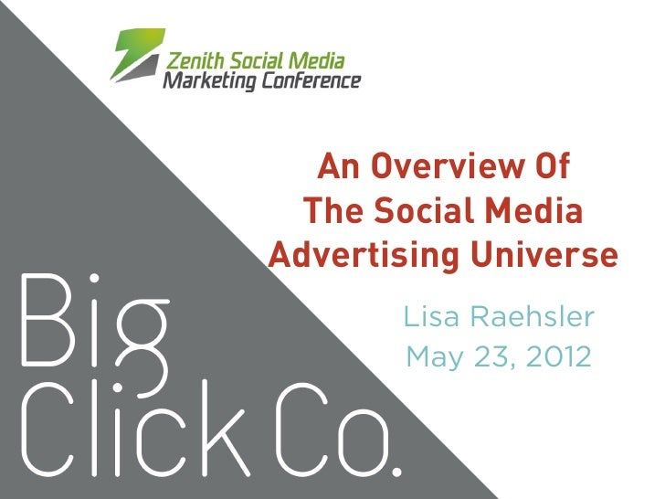 An Overview Of  The Social MediaAdvertising Universe       Lisa Raehsler       May 23, 2012