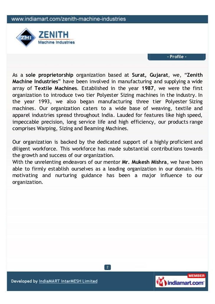 Zenith Machine Industries, Surat, Beaming Machine Slide 2