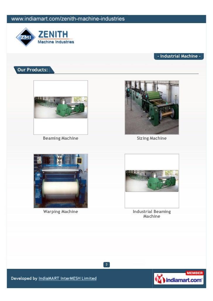 Zenith Machine Industries, Surat, Beaming Machine Slide 3