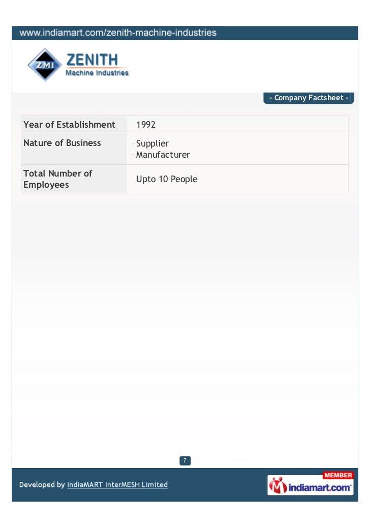 - Company Factsheet -Year of Establishment   1992Nature of Business      Supplier                        ManufacturerTotal...