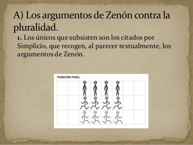  Análisis de los argumentos de Zenón  El primer argumento, conocido como el argumento del estadio o de la dicotomía supo...
