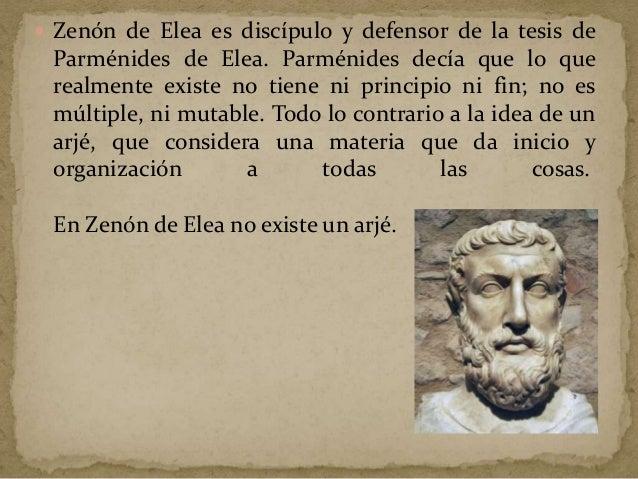  Zenón sigue el pensamiento de la escuela de Parménides, que afirma que las cosas no pueden ser y luego no ser, porque lo...
