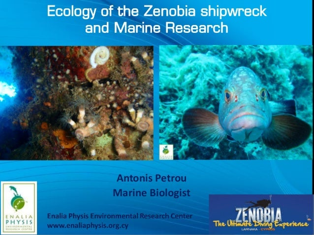 Ecology of the Zenobia shipwreck and Marine Research Antonis Petrou Marine Biologist