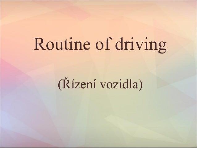 Routine of driving (Řízení vozidla)