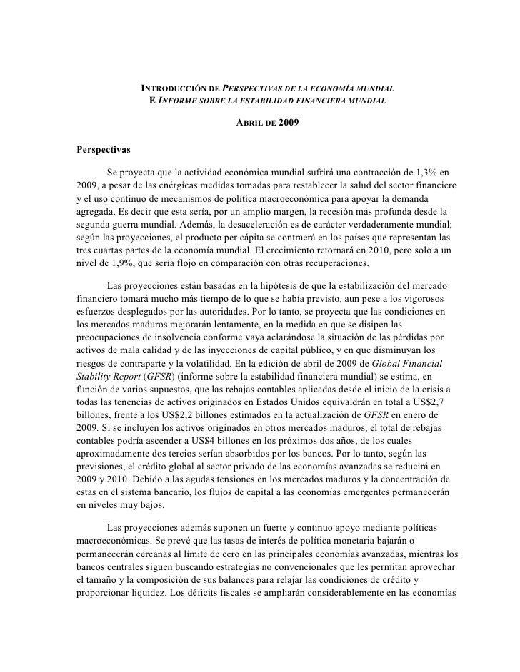 INTRODUCCIÓN DE PERSPECTIVAS DE LA ECONOMÍA MUNDIAL                   E INFORME SOBRE LA ESTABILIDAD FINANCIERA MUNDIAL   ...