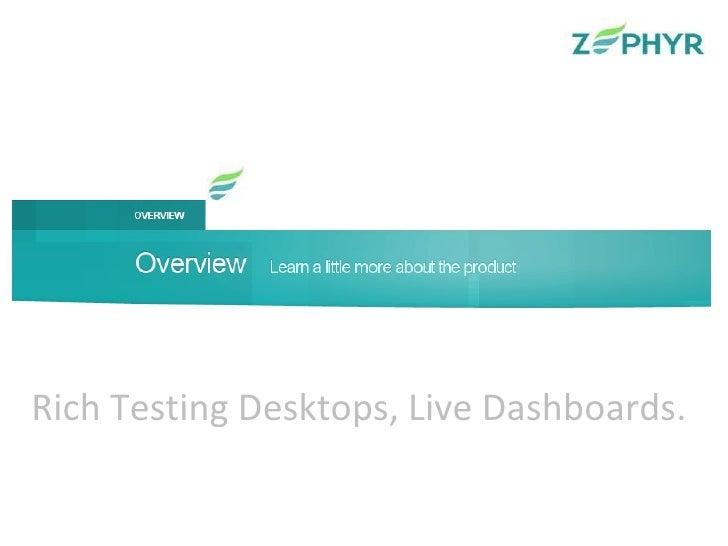Rich Testing Desktops, Live Dashboards.