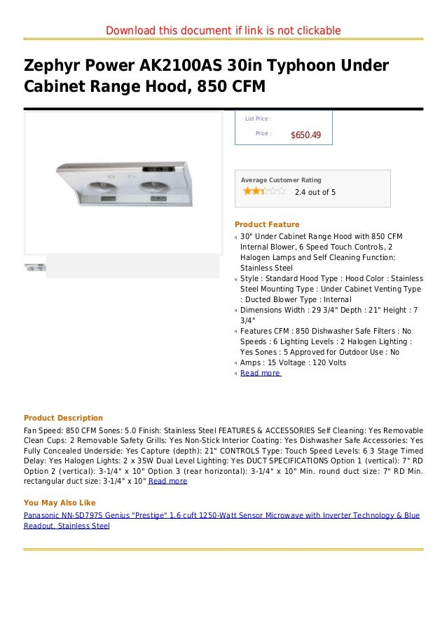 Download this document if link is not clickableZephyr Power AK2100AS 30in Typhoon UnderCabinet Range Hood, 850 CFM        ...
