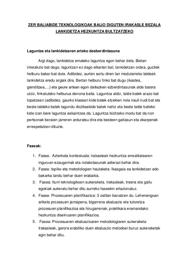 ZER BALIABIDE TEKNOLOGIKOAK BALIO DIGUTEN IRAKASLE BEZALA LANKIDETZA HEZKUNTZA BULTZATZEKO Laguntza eta lankidetzaren arte...